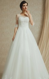 Noble 3 4 Sleeve A-line Organza and English Net Gown With Beading