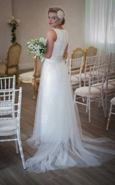 Jewel Sleeveless Long Tulle Wedding Dress With Sash And Bow