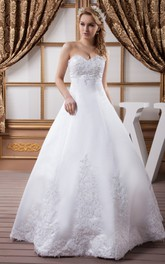 Sweetheart Satin Ball Gown with Appliques and Stress
