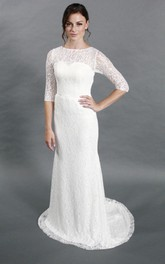 Simple Style Sheath Lace Wedding Dress With Half Sleeves