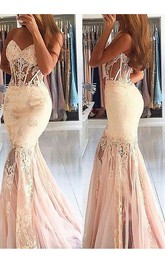 Trumpet Sleeveless Sweetheart Tulle Lace Sweep Brush Train Dress