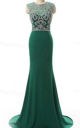 Hunter Long Evening Crystal Beading Formal Evening Handmade Beading Chiffon Formal Evening Gowns Prom Party Dress