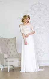 Off-the-shoulder A-line Chiffon Wedding Dress With Lace Bodice