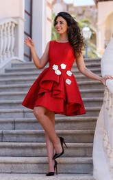 A-line Bateau Sleeveless Flower Ruffles Knee-length Satin Homecoming Dress