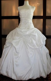 Strapless Dropped Waist Long Taffeta Wedding Dress With Sequins And Pick Up