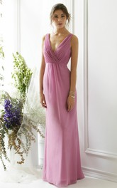 Ruched V-Neck Sleeveless Chiffon Bridesmaid Dress With Bow