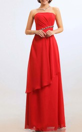 Strapless Empire Chiffon Floor-length Dress With Side Draping