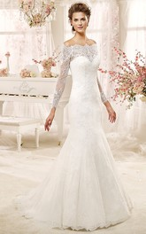 Off-shoulder Sheath Wedding Dress with Long Sleeves and Illusive Design