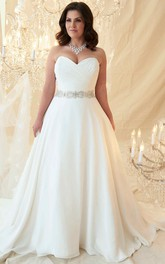 A-Line Sweetheart Jeweled Chiffon Plus Size Wedding Dress With Criss Cross And Zipper