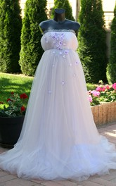 Sleeveless Beaded Floral Tulle Maternity Wedding Dress
