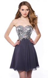Chiffon Short A-Line Sweetheart Bling Corset Homecoming Dress With Pleats