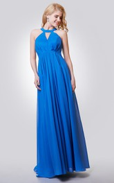 Halter A-line Long Chiffon Pleated Dress With Key-hole