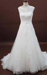 A-Line Lace Organza Satin Weddig Dress With Appliques