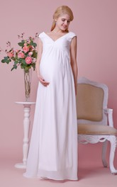 Gorgeous Cap-sleeved Allover Chiffon Sheath Maternity Wedding Dress With V Neck