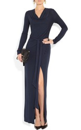 Maxi Long Sleeve Jersey Dress With Slit