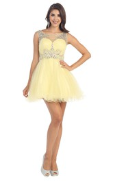 A-Line Short Bateau Sleeveless Tulle Keyhole Dress With Ruffles And Beading