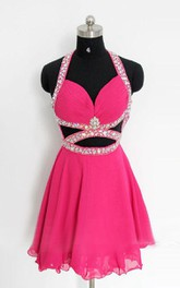 Short Halter Chiffon Dress With Beading And Open Back