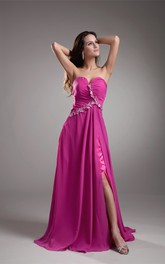 sweetheart front-split maxi chiffon dress with ruching backless design
