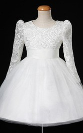 Long Lace Sleeve Tulle Dress With Satin Sash