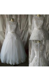 Jewel Illusion Sleeve Button Back Tulle Wedding Dress With Sequins And Sash