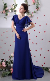 V-Neck Sleeve Caped Pleated Column Dress With Brush Train