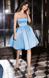 Simple Satin Sweetheart A Line Sleeveless Homecoming Dress with Open Back and Zipper