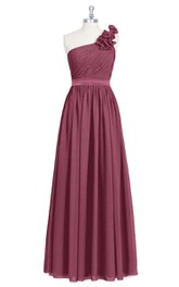 One-Shoulder Floor Length Pleated Chiffon Dress With Flowers and Ruched Bodice