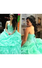 Ball Gown Sweetheart Sleeveless Floor-length Organza Prom Dress with Beading and Tiers