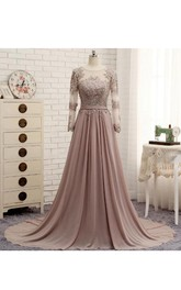 A-line Scoop Neck Long Sleeved Appliqued Chiffon Dress
