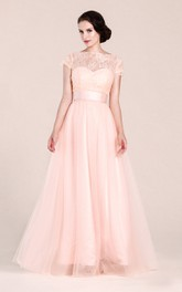 Short-sleeved A-line Long Dress With Illusion Neckline
