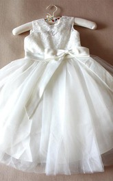 Floor-length Tulle&Lace Dress With Bow&Flower
