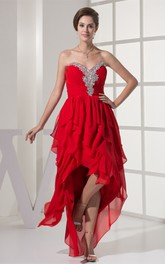 Sweetheart Beaded High-Low Dress with Ruffles and Rhinestone