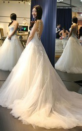 Elegant V Neck Backless Wedding Dresses With Appliques