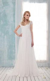 V-Neck Cap Empire Long Chiffon Wedding Dress With Ruching And Pleats