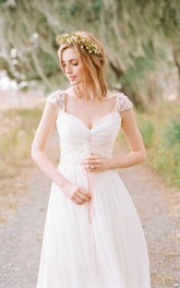 Elegant Cap Sleeve Long Chiffon Sweetheart Wedding Dress