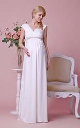 V-neck Cap-sleeved Jersey Maternity Wedding Dress With Beaded Empire Waist