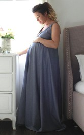 Maternity V-Neck Floor-Length Dress