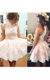 A-line Ball Gown High Neck Sleeveless Pleats Ruching Short Mini Lace Homecoming Dress