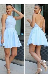 A-line Halter Sleeveless Pleats Ruching Short Mini Chiffon Lace Homecoming Dress