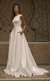 Bateau Neckline With Cap Sleeve Elegant Satin Wedding Dress With V-back And Sash Details