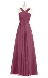 Sleeveless A-Line Ruched and Pleated Chiffon Dress With Crisscross Bandage