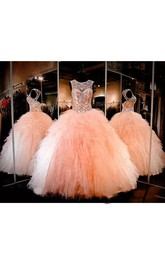 Ball Gown Jewel Sleeveless Floor-length Tulle Prom Dress with Beading and Ruffles