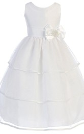 Sleeveless A-line Tiered Dress With Bow and Beadings