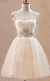 Cute Sweetheary SHort Tulle Homecoming Dress With Crystals