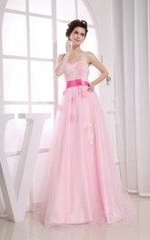 Blushing Sweetheart A-Line Dress With Tulle Overlay