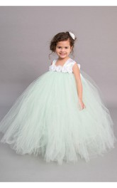 Cap Sleeve Empire Waist Pleated Tulle Ball Gown With Chiffon Flower