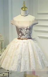 Ball Gown Off-the-shoulder Sleeveless Appliques Bow Pleats Short Mini Satin Lace Homecoming Dress
