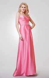 Sweetheart A-line Long Satin Dress With Ruching