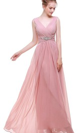 Empire V Neck V Back Beaded A-line Chiffon Dress Pink