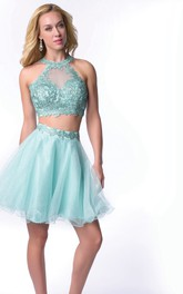 Two-Piece Lace Bodice Tulle Skirt Homecoming Dress With High Neck
